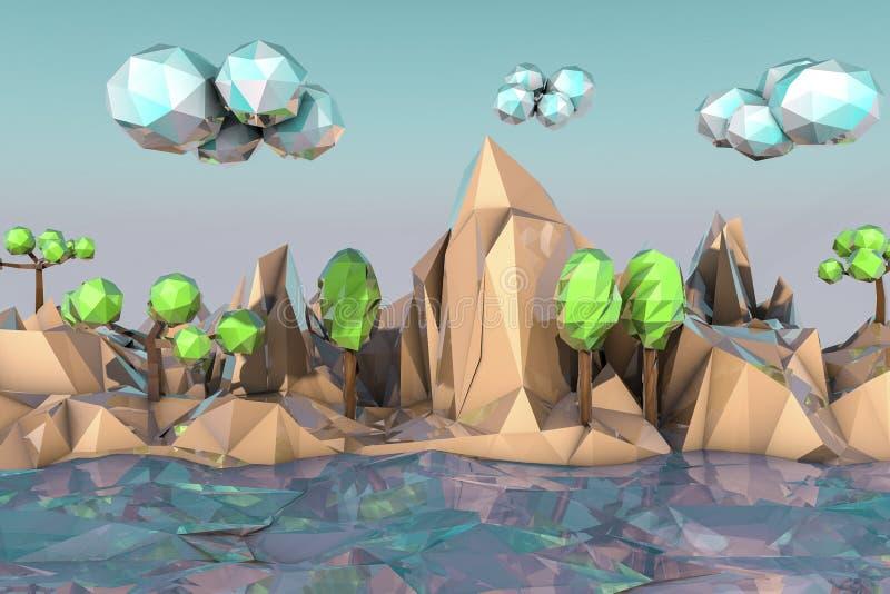 paysage Bas-polygonal illustration de vecteur