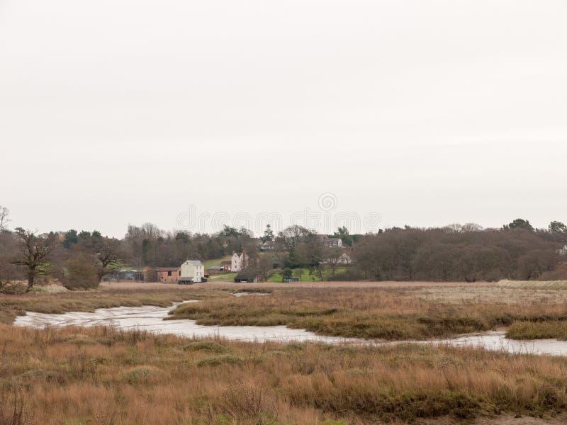 paysage blanc de feuillage de ciel d'hiver d'automne de scène de rivière d'estuaire image stock