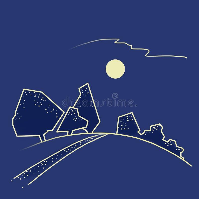 Paysage bleu avec les arbres foncés illustration libre de droits