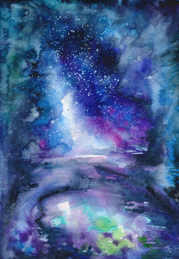 Paysage bleu d'aquarelle illustration libre de droits