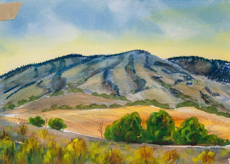 Paysage bleu de montagnes - peinture originale d'aquarelle illustration libre de droits