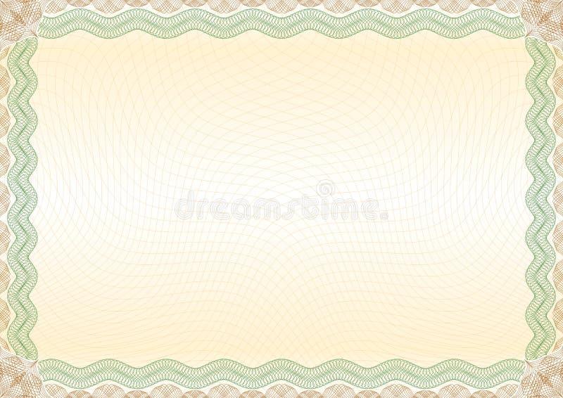 Paysage brun vert de frontière de certificat illustration de vecteur