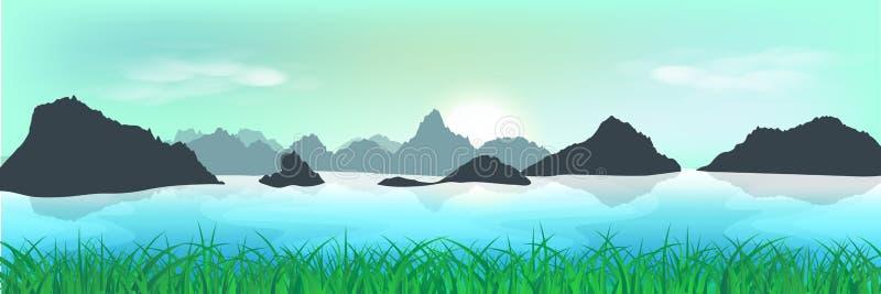 Paysage, champ d'herbe naturel et vallée, trave de matin de lever de soleil illustration stock