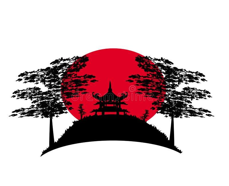 Paysage chinois abstrait illustration de vecteur