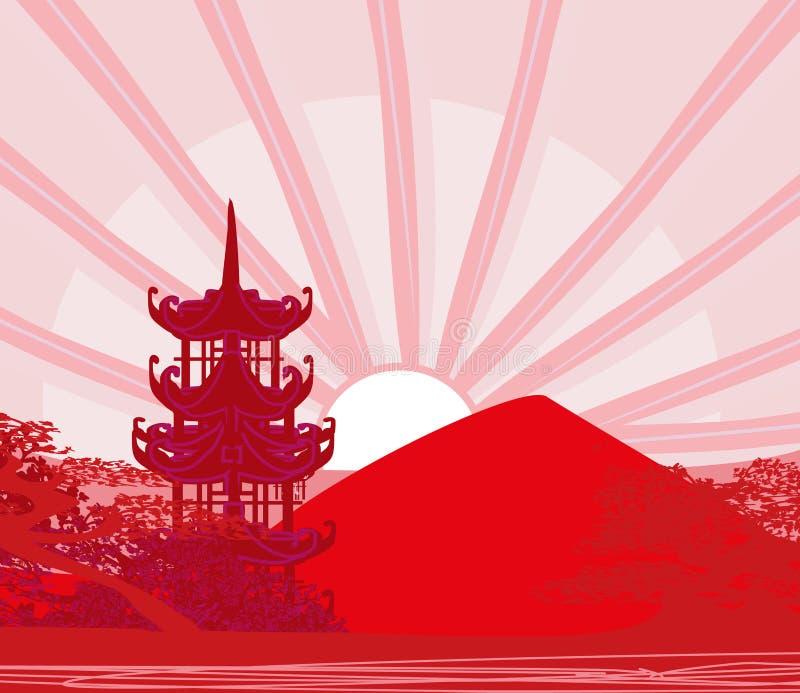 Paysage chinois abstrait, illustration d'un coucher du soleil illustration stock
