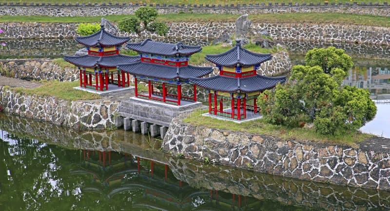 Paysage chinois antique de miniature d'architecture image stock