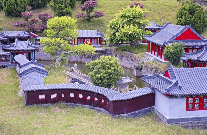 Paysage chinois antique de miniature d'architecture image libre de droits