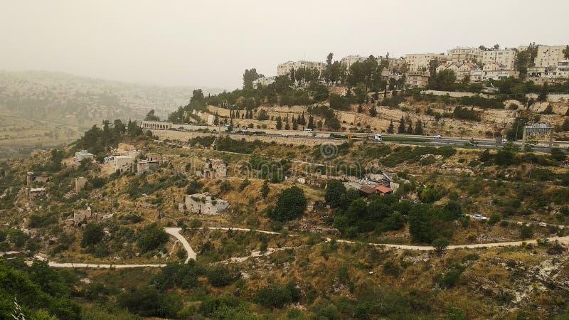 Paysage cinématographique des collines renversantes à Jérusalem, Israël photo stock