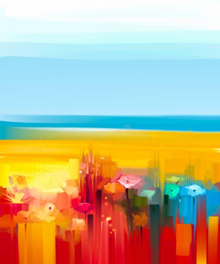 paysage color abstrait de peinture l 39 huile sur la toile illustration stock illustration du. Black Bedroom Furniture Sets. Home Design Ideas