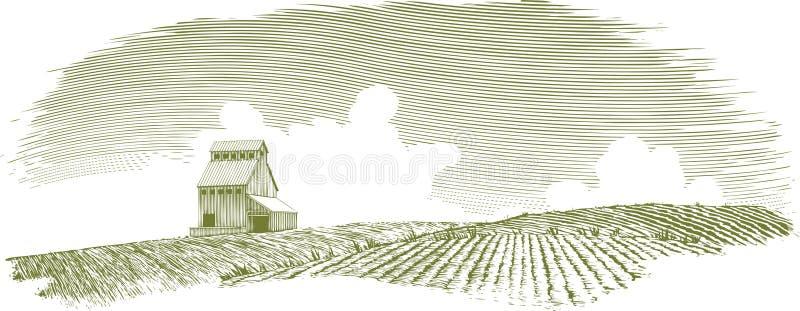 Paysage d'élévateur à grains de gravure sur bois illustration stock