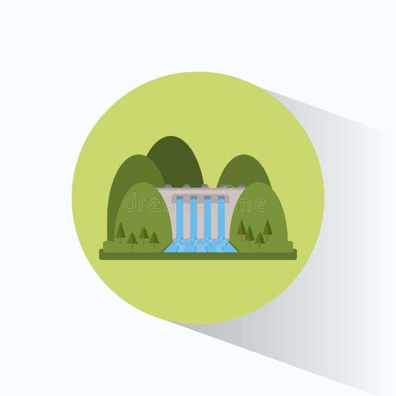 Paysage d'énergie de générateur d'usine d'hydroélectricité illustration libre de droits