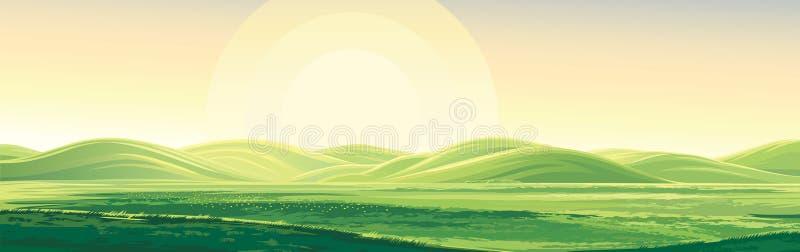 Paysage d'été avec des collines illustration de vecteur