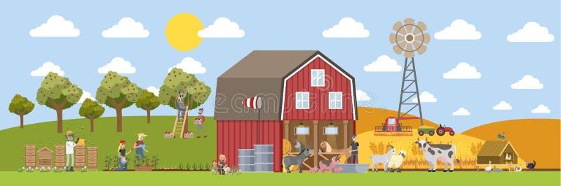 Paysage d'été avec la ferme illustration libre de droits