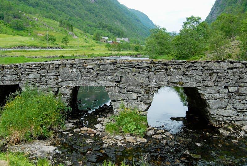 Paysage d'été avec un vieux pont en pierre à travers la petite rivière en Norvège rurale photographie stock libre de droits