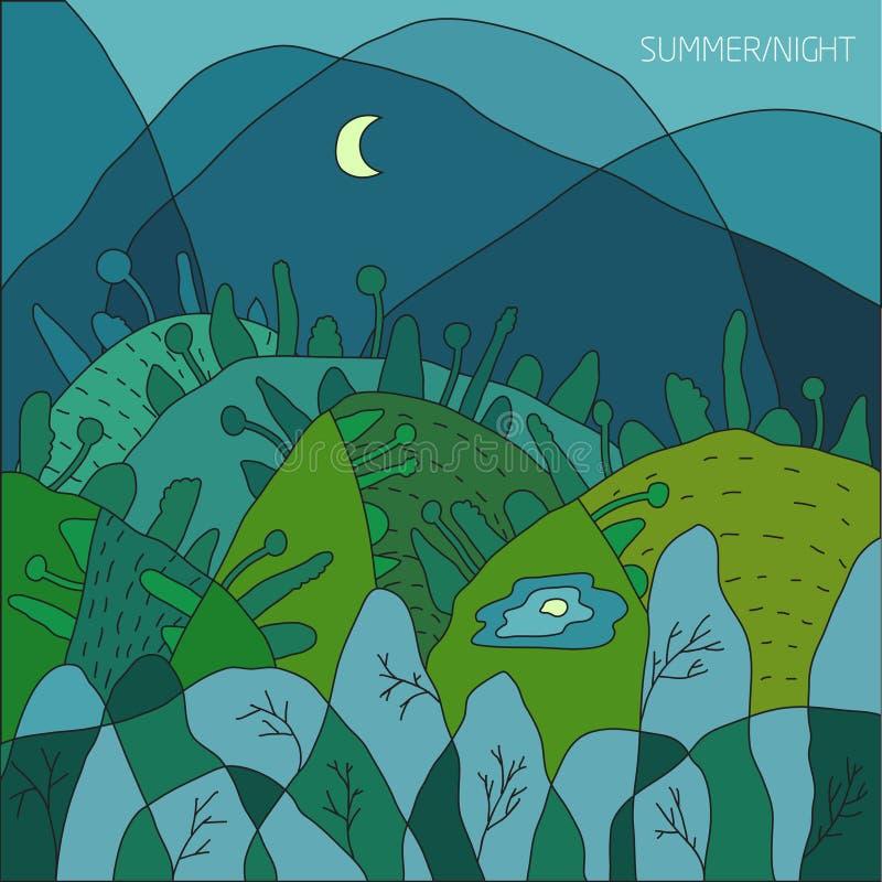 Paysage d'été de nature, une nuit dans un mois vert de la forêt A dans le ciel foncé, arbres verts dans les collines et un lac Il illustration de vecteur