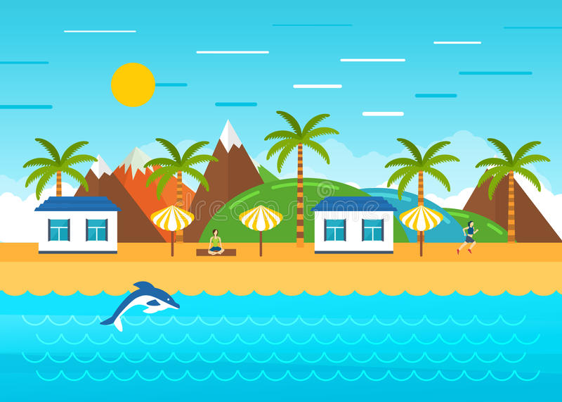 Paysage d'été de plage Huttes de touristes sur la côte illustration de vecteur