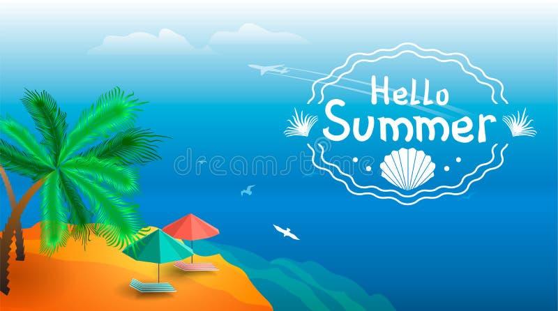 Paysage d'ÉTÉ Vue de l'horizon de mer et de la plage avec des parapluies, canapés du soleil illustration de vecteur