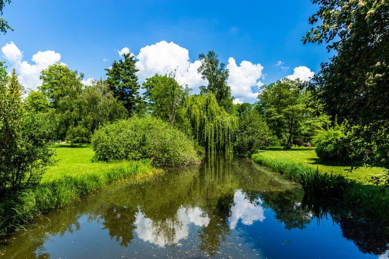 Paysage d'étang de canal de parc d'été dans la République Tchèque images stock