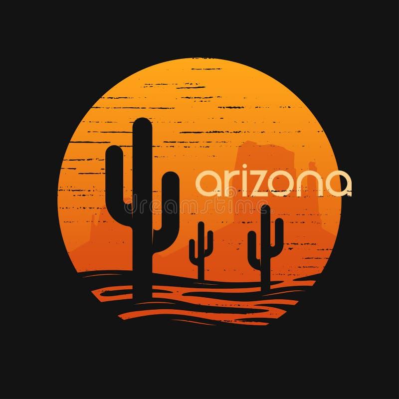 Paysage d'état de l'Arizona Conception de vecteur de T-shirt illustration libre de droits