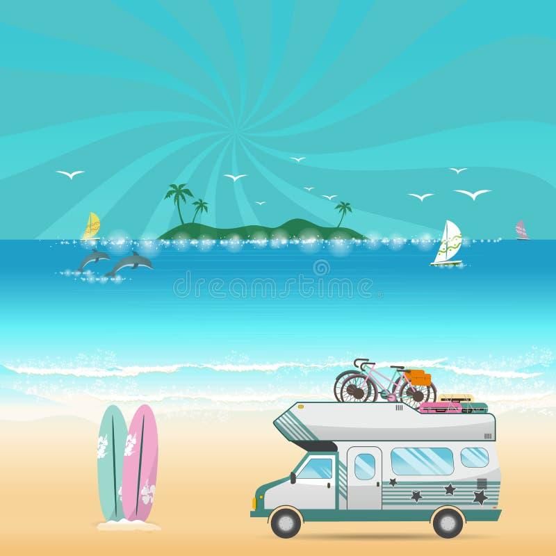 Paysage d'île de camping de plage d'été avec le campeur de caravane illustration stock