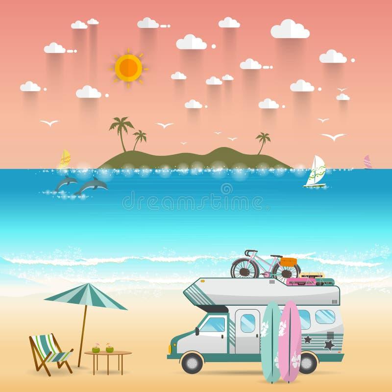 Paysage d'île de camping de plage d'été avec le campeur de caravane illustration libre de droits