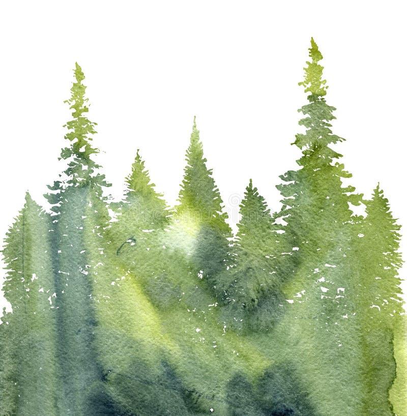 Paysage d'aquarelle avec des sapins illustration libre de droits