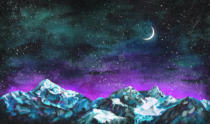 Paysage d'aquarelle avec le ciel nocturne étoilé, la lune et les montagnes image libre de droits