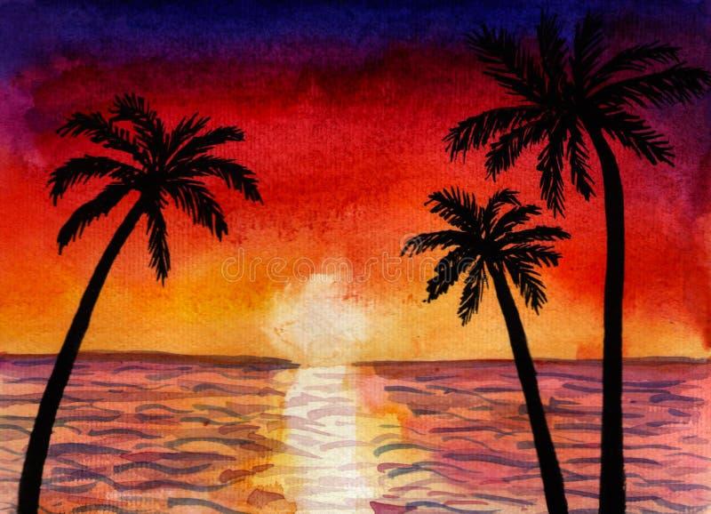 Paysage d'aquarelle de la mer ou l'océan et les paumes au coucher du soleil photo stock