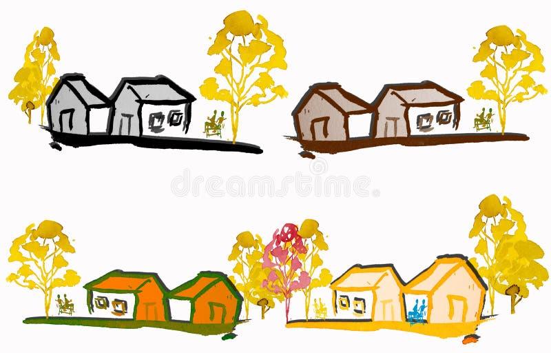 Paysage d'aquarelle de peinture coloré de la maison de collection illustration libre de droits