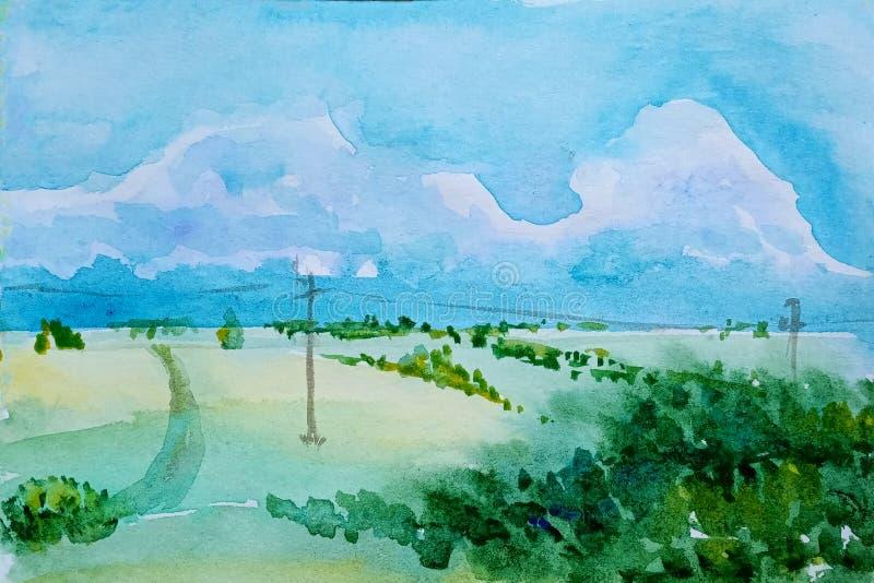 Paysage d'aquarelle des prés verts et d'une colline avec une forêt et une ligne des vitesses vivantes La traînée de l'horizon con illustration stock