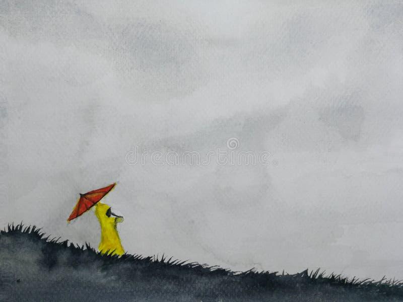 Paysage d'aquarelle l'imperméable jaune de fille avec le support de parapluie rouge sur la colline illustration libre de droits