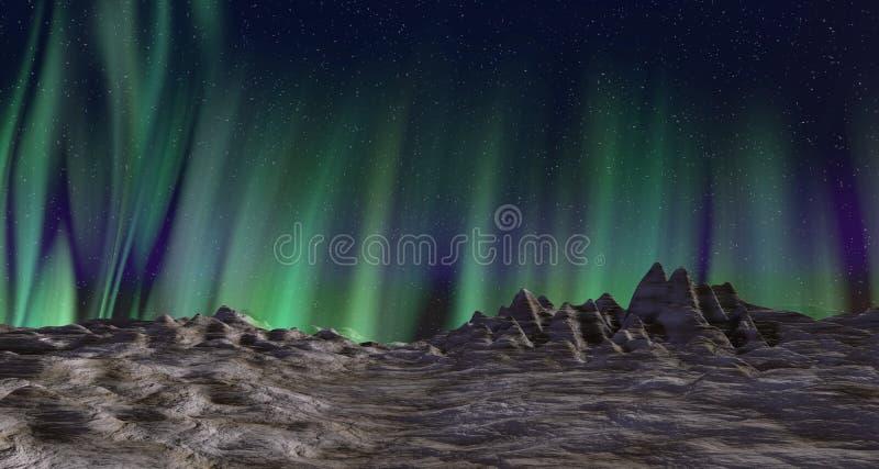 Paysage d'aurora borealis illustration libre de droits