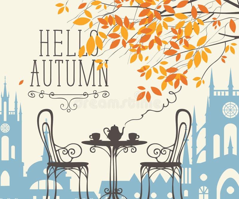 Paysage d'automne avec le café de rue dans la vieille ville illustration stock