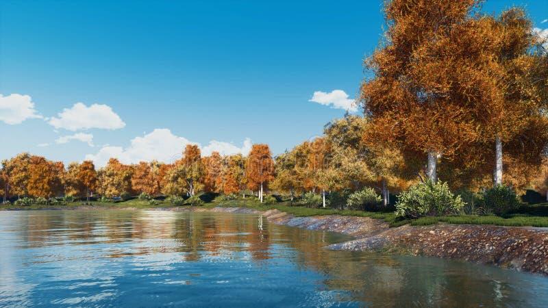 Paysage d'automne avec les arbres et le lac scéniques de forêt photo stock