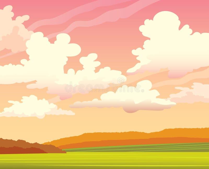Paysage d'automne - coucher du soleil, nuageux, champ, forêt illustration libre de droits