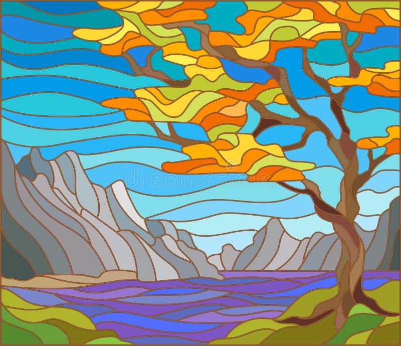 Paysage d'automne dans le style de verre souillé illustration de vecteur