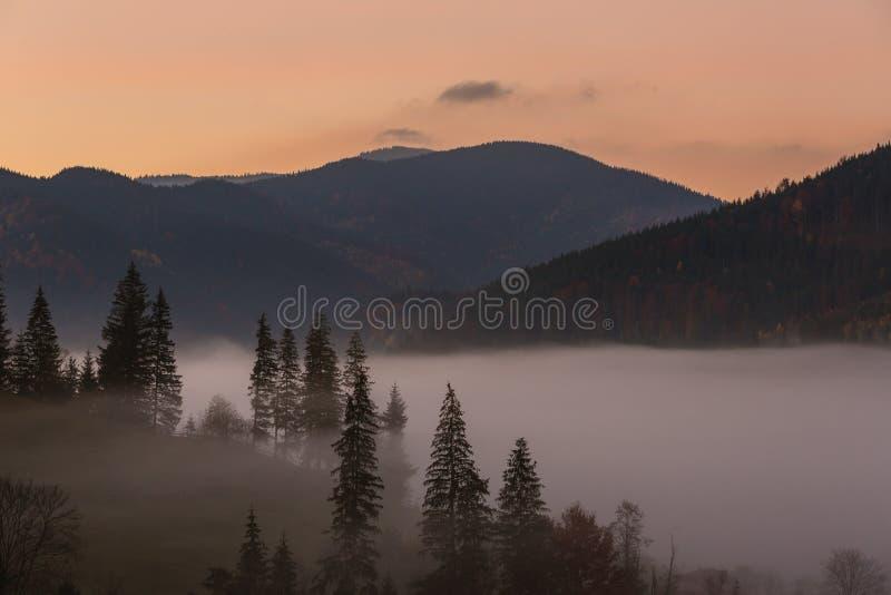 Paysage d'automne de lever de soleil dans les montagnes carpathiennes photographie stock