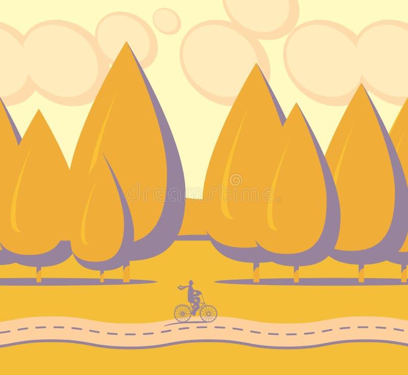 Paysage d'automne de vecteur avec la forêt et la route illustration de vecteur