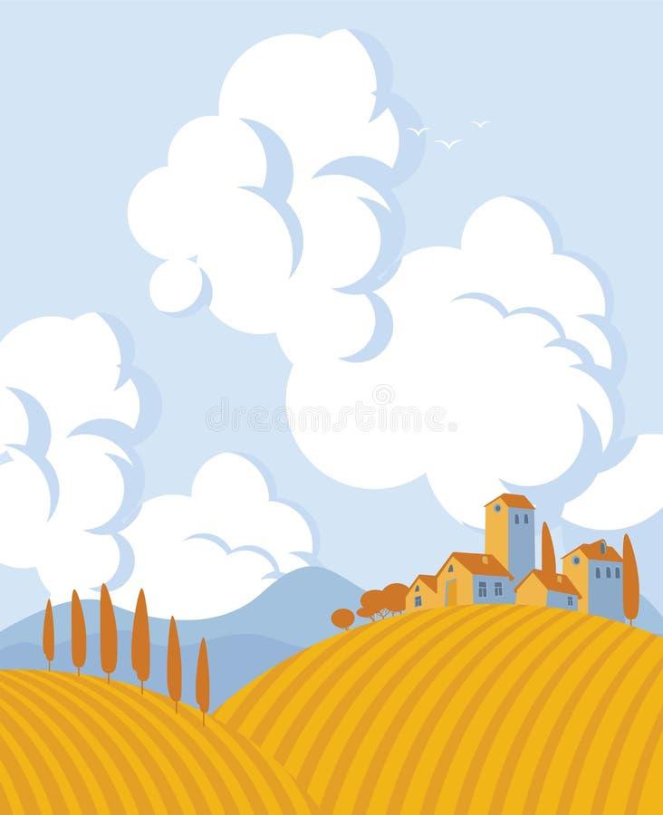 Paysage d'automne de vecteur avec le champ et le village illustration de vecteur