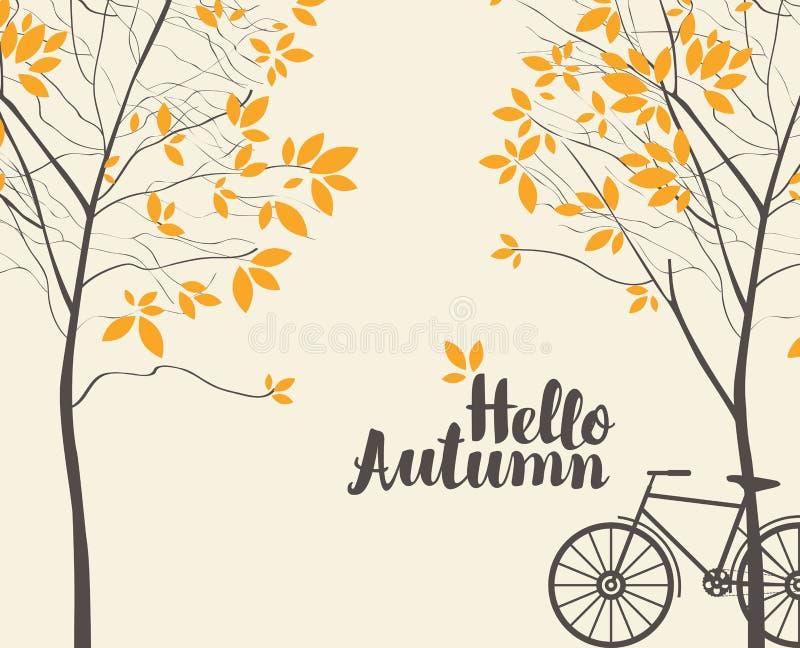 Paysage d'automne de vecteur avec les arbres et le vélo illustration libre de droits