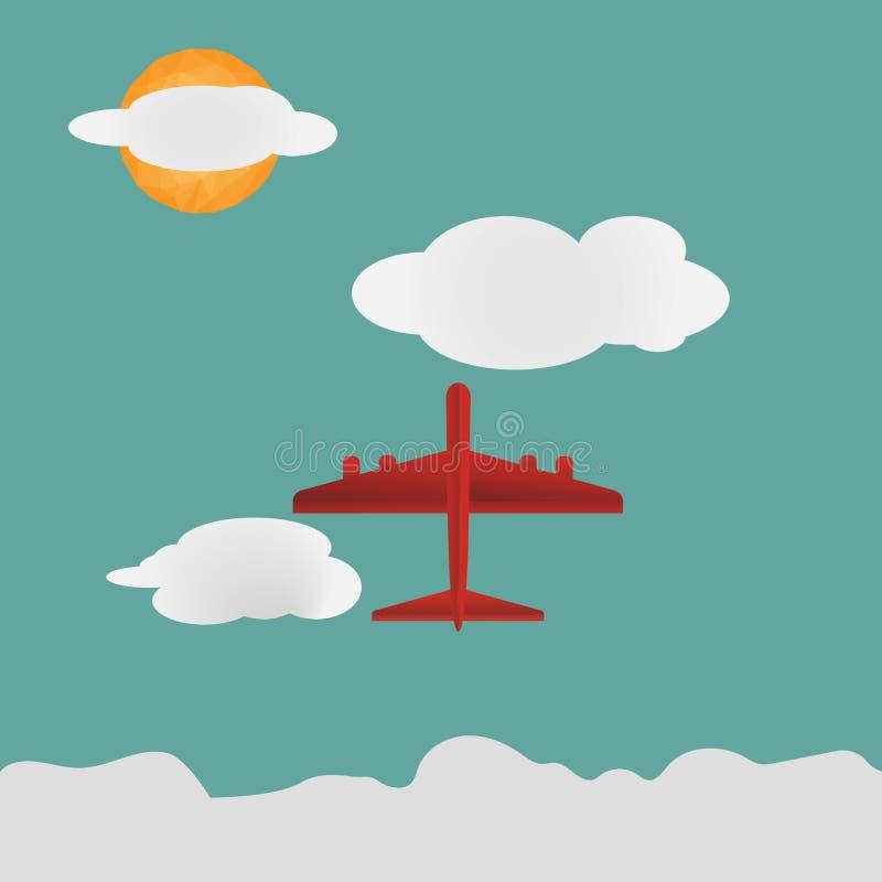 Paysage d'avion rouge sur le ciel et les nuages verts avec le bas soleil de polygone dans la conception plate illustration stock
