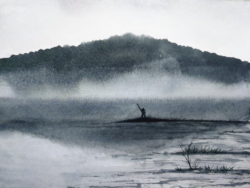 Paysage d'encre d'aquarelle la pêche d'homme illustration stock