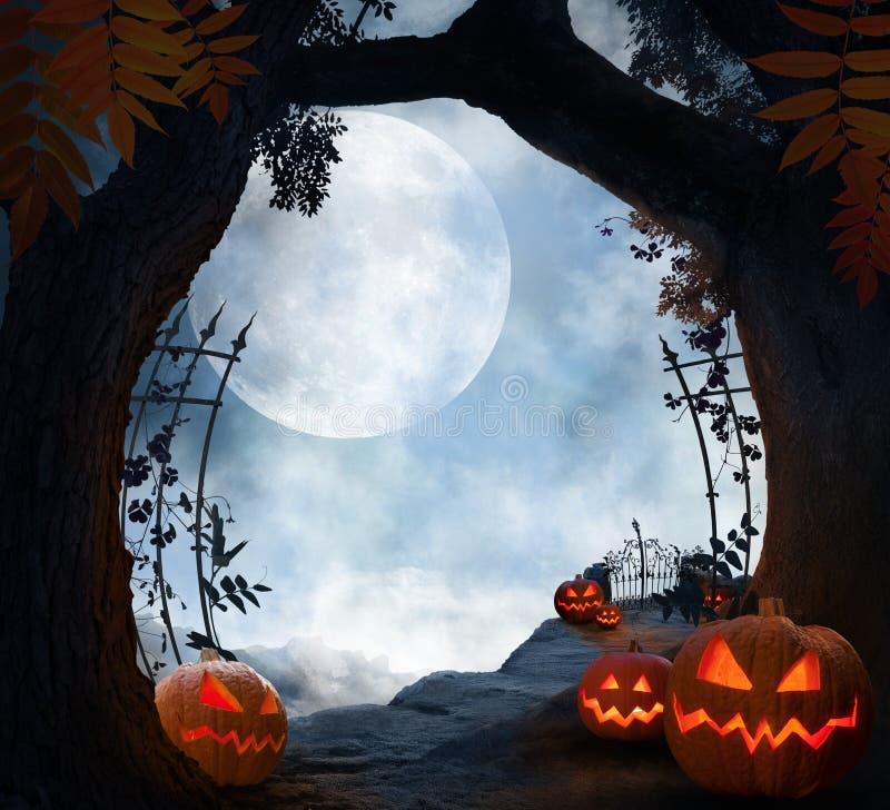 Paysage d'halloween avec citrouilles, humeur sombre et lune illustration stock
