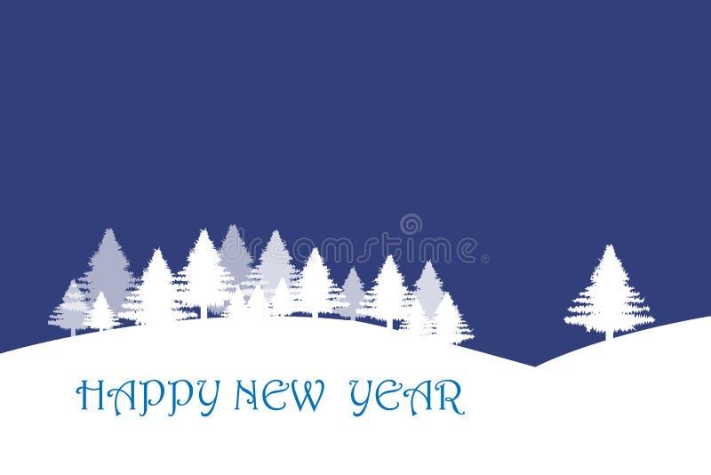 Paysage d'hiver à l'arrière-plan bleu-foncé illustration libre de droits