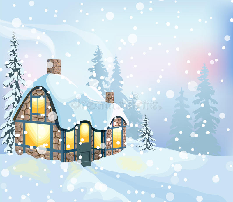 Paysage 3 d'hiver illustration libre de droits