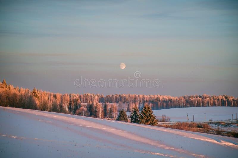 Paysage d'hiver au coucher du soleil avec la forêt et la lune, images libres de droits