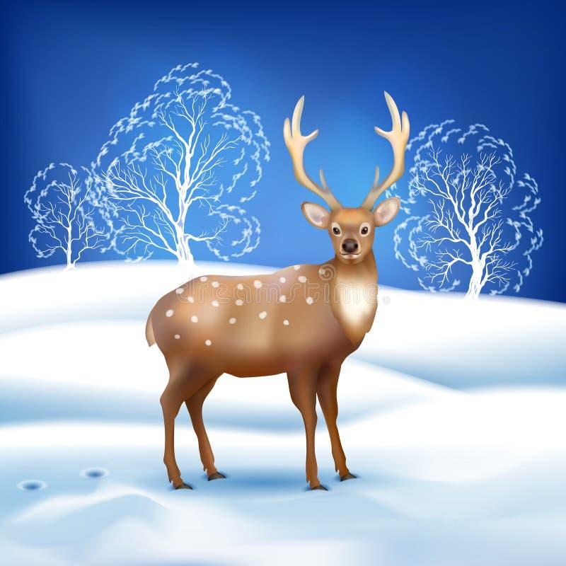 Paysage d'hiver avec des cerfs communs illustration de vecteur