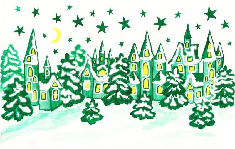 Paysage d'hiver avec des maisons dans des couleurs de turquoise illustration stock