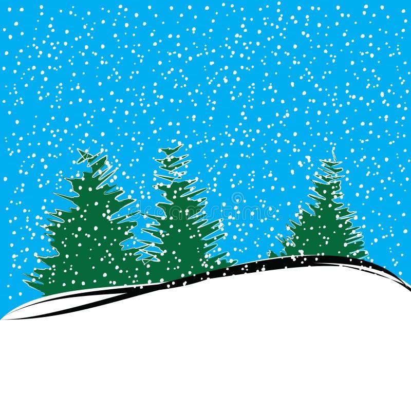 Paysage d'hiver avec des sapins et des flocons de neige illustration de vecteur