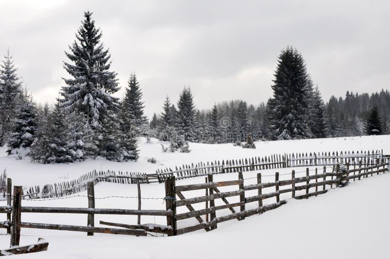 Paysage d'hiver avec la barrière en bois images stock